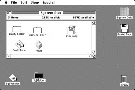 Graphic user interface van Apple (1984)