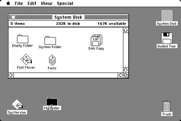 Graphic user interface van Apple (1984)