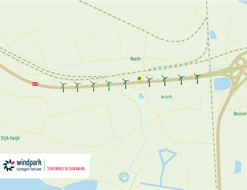 Windpark Nijmegen-Betuwe kaart