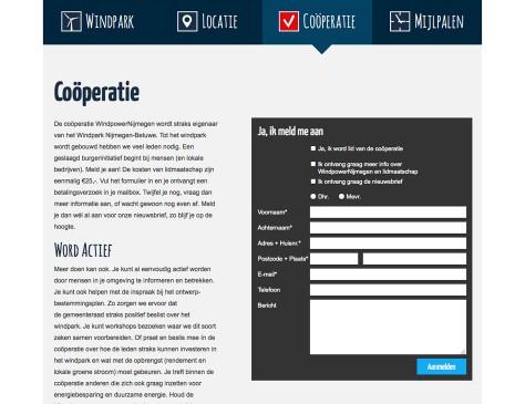 Windpark Nijmegen-Betuwe - aanmelden