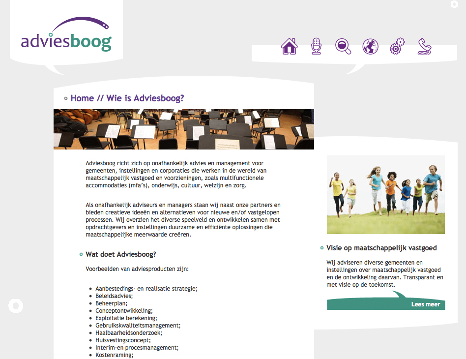 Adviesboog // website home