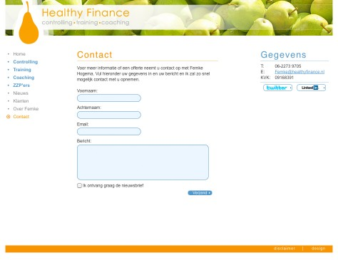Healthy Finance // website contact