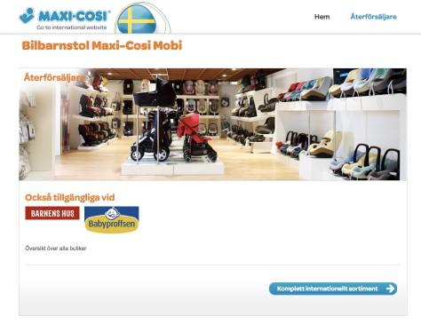 Maxi-cosi // microsite Zweden shops