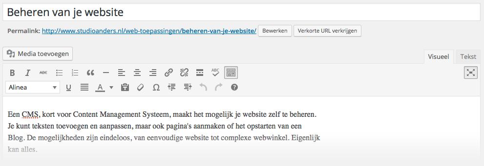 Voorbeeld tekstbewerker in WordPress